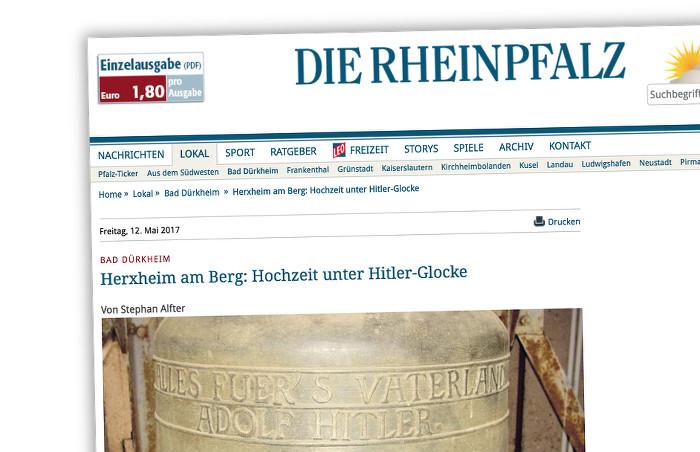"""Internetseite der """"Rheinpfalz"""" mit einem Foto der """"Hitlerglocke"""""""