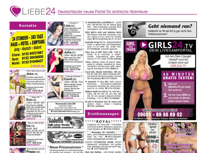 Zeitungsseite mit Sex-Kontaktanzeigen