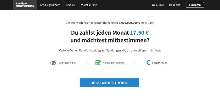 """Screenshot der Seite rundfunk-mitbestimmen.de, auf der zu lsen ist: """"Du zahlst jeden Monat 17,50 € test mitbestimmen?""""und möch"""