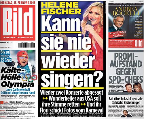 """""""Bild""""-Zeitung: Helene Fischer - Kann sie nie wieder singen?"""