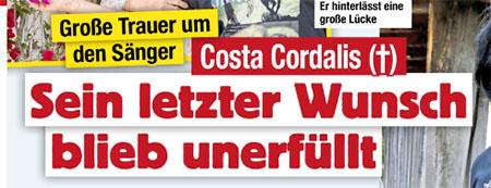 Große Trauer um den Sänger - Costa Cordalis - Sein letzter Wunsch blieb unerfüllt