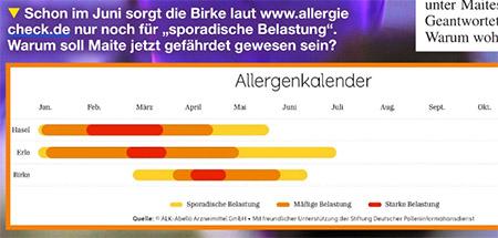 """Schon im Juni sorgt die Birke laut www.allergiecheck.de nur noch für """"sporadische Belastun"""". Warum soll Maite jetzt gefährdet gewesen sein?"""