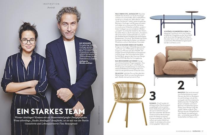 """Porträt des Designstudios Aisslinger, Überschrift: """"Ein starkes Team"""""""