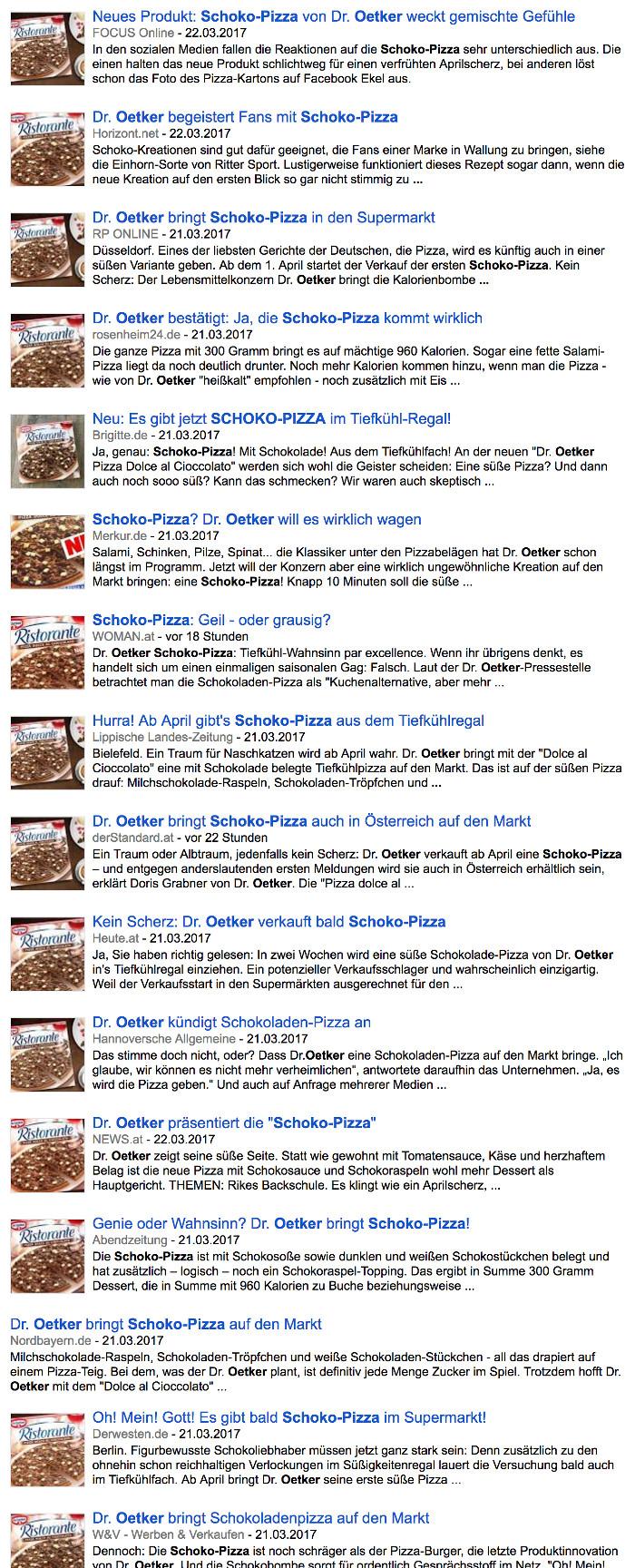 Screenshot von Google News zur Schoko-Pizza von Dr. Oetker