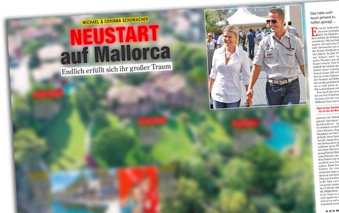 """Ausriss aus """"Woche Heute"""": """"Michael & Corinna Schumacher - Neustart auf Mallorca - Endlich erfüllt sich ihr großer Traum"""" - bebildert mit einer großen Luftaufnahme des Anwesens"""