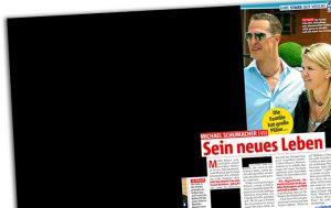"""Ausriss aus """"Das neue Blatt"""": """"Michael Schumacher - Sein neues Leben"""" - daneben eine komplette geschwärzte Seite"""