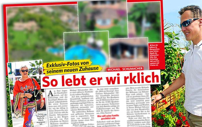 """Ausriss aus """"Neue Post"""": """"Exklusiv-Fotos von seinem neuen Zuhause - Michael Schumacher - So lebt er wirklich"""" - dazu fünf detaillierte Luftaufnahmen des Anwesens"""