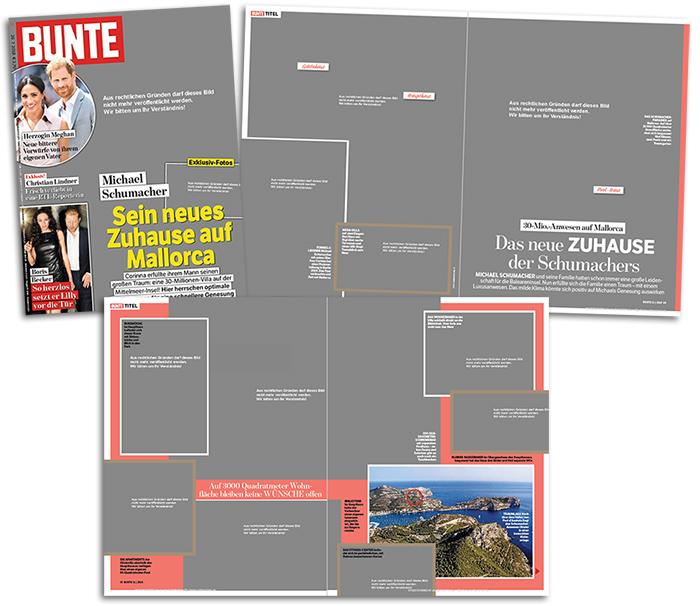 """Titelseite und vier Seiten aus dem Innenteil von """"Bunte"""": """"Michael Schumacher - Sein neues Zuhause auf Mallorca"""", dazu mehr als ein Dutzend geschwärzter Fotos des Anwesens"""