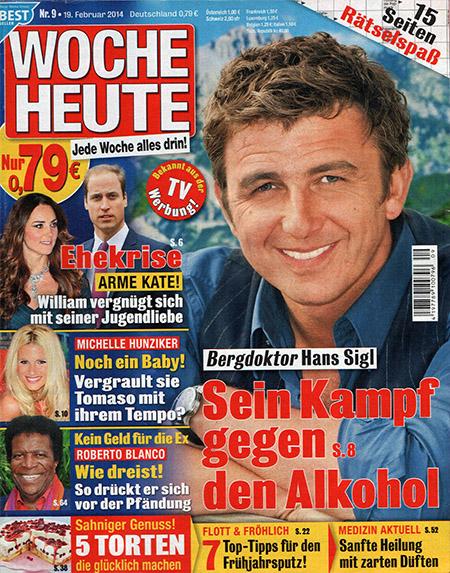 """Titelseite der Woche Heute: """"Bergdoktor Hans Sigl - Sein Kampf gegen den Alkohol"""""""