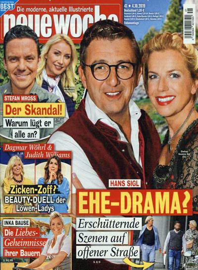 """Titelseite """"Neue Woche"""": """"Hans Sigl - Ehe-Drama? Erschütternde Szenen auf offener Straße"""""""
