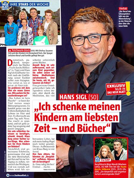 """Interview in Das neue Blatt: """"Hans Sigl - Ich schenke meinen Kindern am liebsten Zeit - und Bücher"""""""