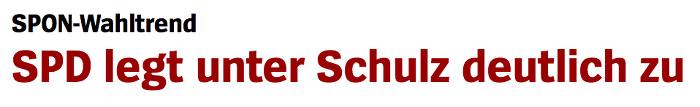 """Überschrift """"Spiegel Online"""": """"SPD legt unter Schulz deutlich zu"""""""