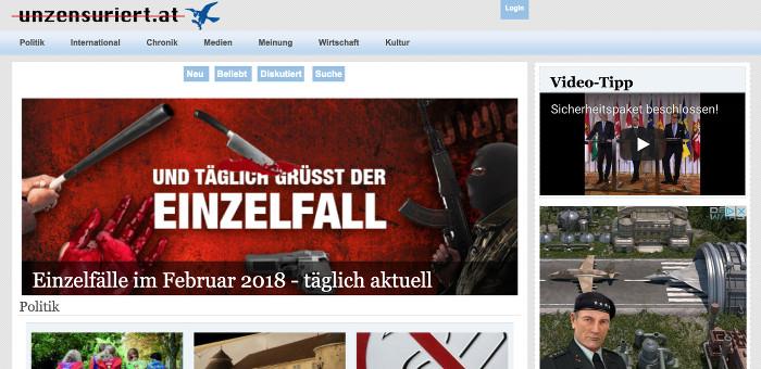 """Startseite von """"unzensuriert"""" mit einem Foto, das Waffen zeigt vor rotem Hintergrund, Schlagzeile: Und täglich grüßt der Einzelfall""""."""