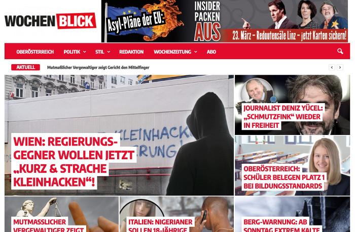 """Startseite mit verschiedenen Fotos und Überschriften, etwa: """"Journalist Deniz Yücel: 'Schmutzfink' wieder in Freiheit"""""""