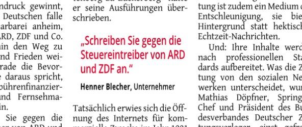 """""""Scrheiben Sie gegen die Steuereintreiber von ARD und ZDF an"""""""