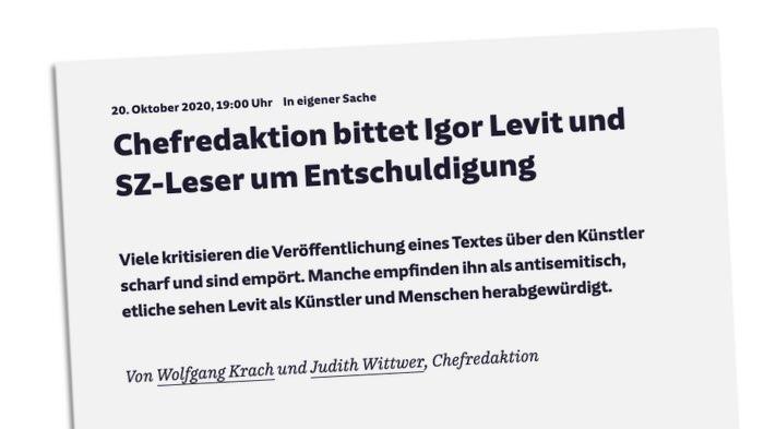 Chefredaktion bittet Igor Levit und SZ-Leser um Entschuldigung