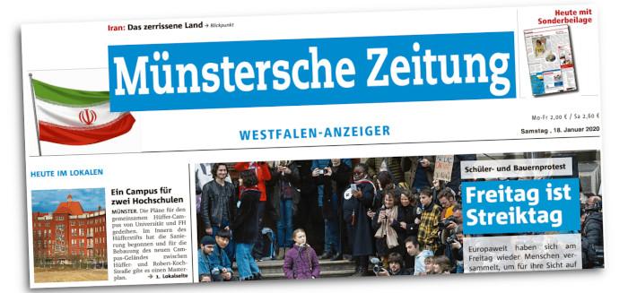 """Titelkopf der """"Münsterschen Zeitung"""""""