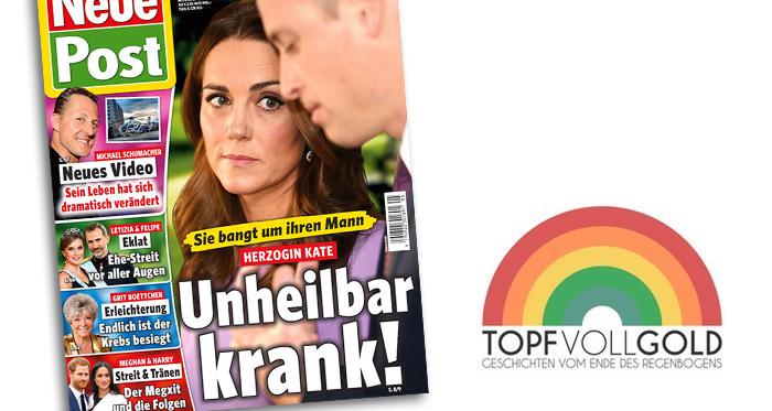 """Titelseite """"Neue Post"""": """"Herzogin Kate - Sie bangt um ihren Mann - Unheilbar krank!"""""""