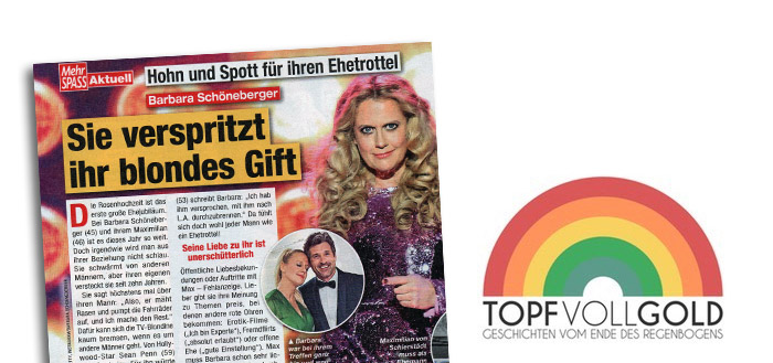 """Schlagzeile in der """"Mehr Spass"""": """"Hohn und Spott für ihren Ehetrottel - Barbara Schöneberger - Sie verspritzt ihr blondes Gift"""""""