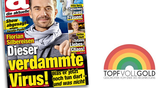 """Große Titelschlagzeile von """"Die Aktuelle"""": """"Florian Silbereisen - Dieser verdammte Virus! - Was er jetzt noch tun darf - und was nicht"""" Und als kleinere Ergänzung darüber: """"Show abgesagt wegen Corona-Panik!"""""""