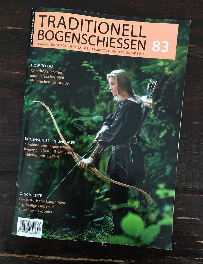 """Titelseite der der Zeitschrift """"Traditionell Bogenschießen"""""""