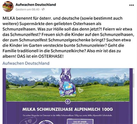 """Tweet: """"MILKA benennt für österr. und deutsche (sowie bestimmt auch weitere) Supermärkte den geliebten Osterhasen als Schmunzelhasen. Was zur Hölle soll das denn jetzt?! Feiern wir etwa das Schmunzelfest? Freuen sich die Kinder auf den Schmunzelhasen, der zum Schmunzelfest Schmunzelgeschenke bringt? Suchen etwa die Kinder im Garten versteckte bunte Schmunzeleier? Geht die Familie traditionell in die Schmunzelkirche? Also mir ist das zu albern! DAS ist ein OSTERHASE!"""""""
