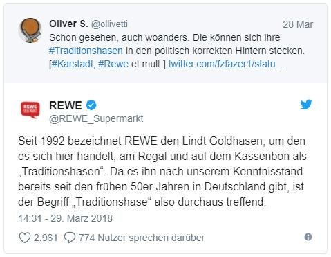 """Tweet von Rewe: """"Seit 1992 bezeichnet REWE den Lindt Goldhasen, um den es sich hier handelt, am Regal und auf dem Kassenbon als """"Traditionshasen"""". Da es ihn nach unserem Kenntnisstand bereits seit den frühen 50er Jahren in Deutschland gibt, ist der Begriff """"Traditionshase"""" also durchaus treffend."""""""