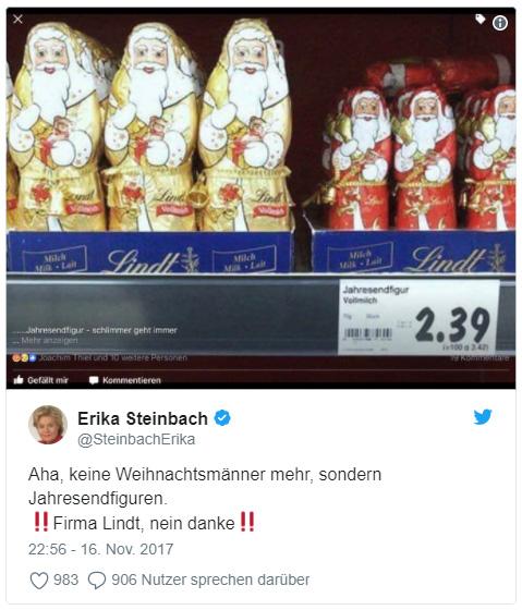 """Tweet von Erika Steinbach: """"Aha, keine Weihnachtsmänner mehr, sondern Jahresendfiguren. ‼️Firma Lindt, nein danke‼️"""""""