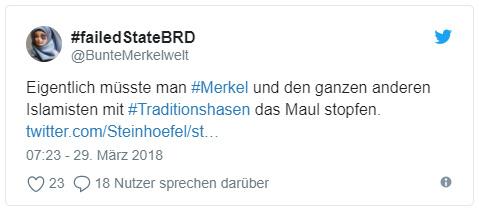 """Tweet: """"Eigentlich müsste man #Merkel und den ganzen anderen Islamisten mit #Traditionshasen das Maul stopfen. """""""