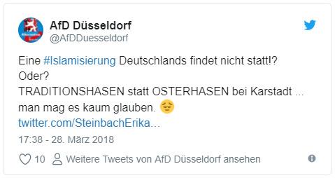 """Tweet der AfD Düsseldorf: """"Eine #Islamisierung Deutschlands findet nicht statt!? Oder? TRADITIONSHASEN statt OSTERHASEN bei Karstadt ... man mag es kaum glauben. 😔"""""""