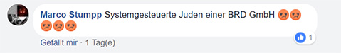 """Facebook-Kommentar: """"Systemgesteuerte Juden einer BRD GmbH [fünf extrem wütende Smileys]"""""""