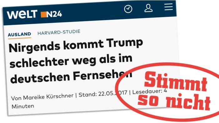 Nein, es sind nicht 98 % der ARD-Berichte über Trump negativ ...