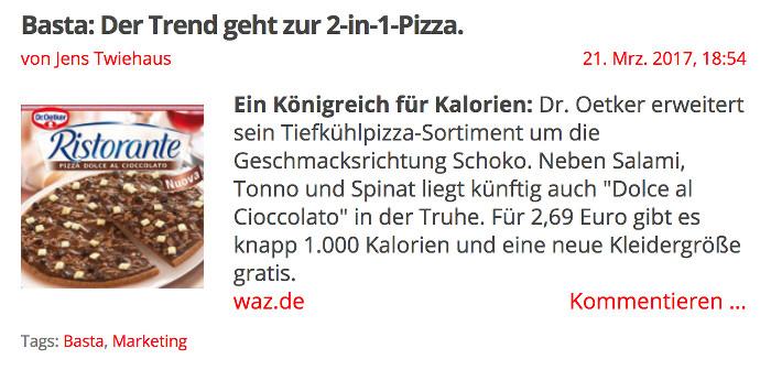 Beitrag von turi2.de zur neuen Schoko-Pizza
