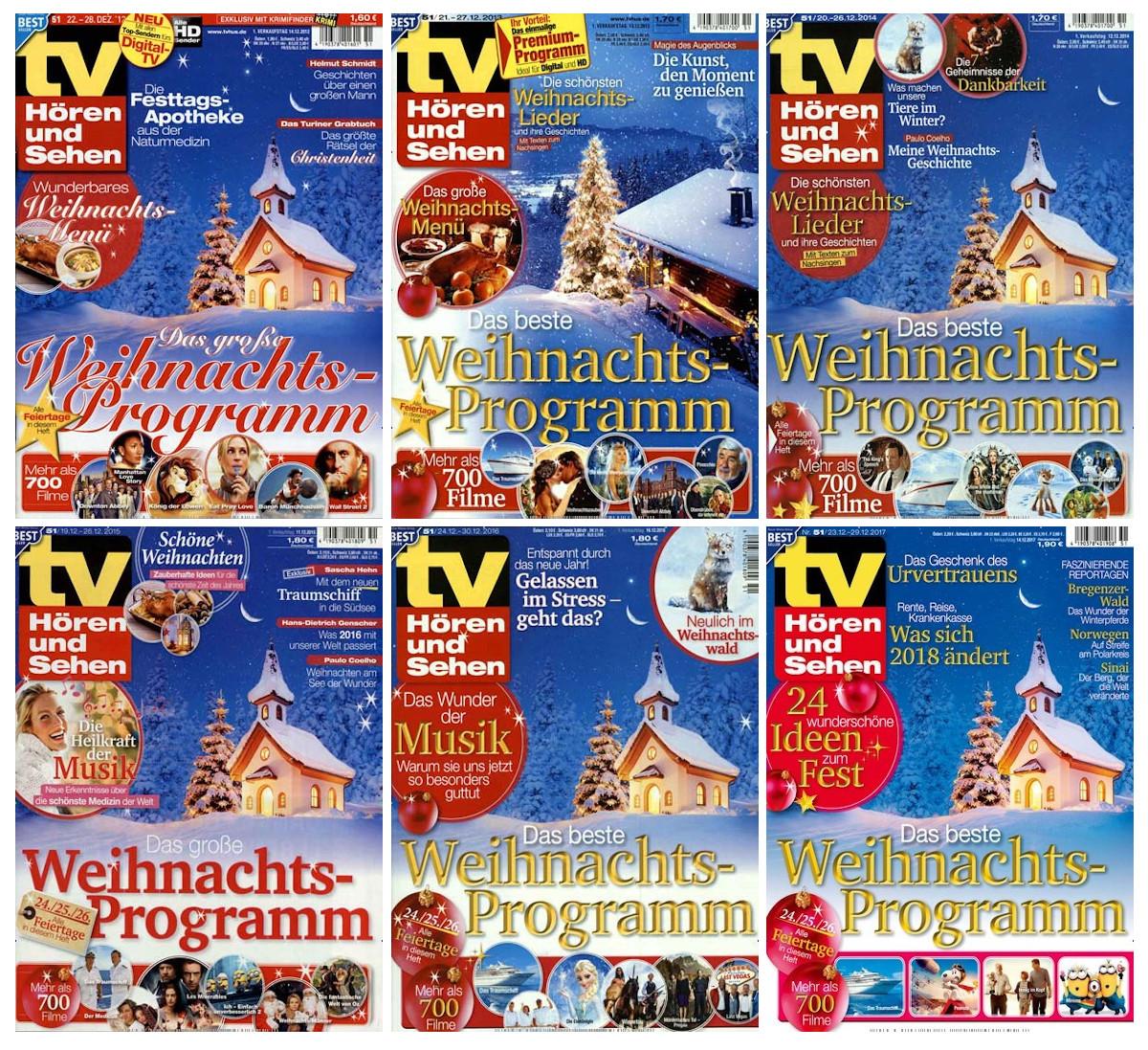Sechs nahezu identische Titelseiten mit immer derselben Kapelle auf dem Foto, nur 2013 wurde eine andere Kapelle abgebildet.
