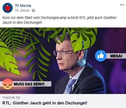 """Facebook-Post der """"TV Movie"""": """"Kurz vor dem Start vom Dschungelcamp schickt RTL jetzt auch Günther Jauch in den Dschungel! RTL: Günther Jauch geht in den Dschungel!"""""""