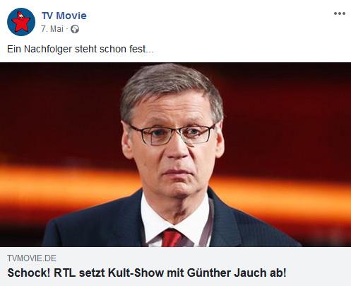 """Facebook-Post der """"TV Movie"""": """"Ein Nachfolger steht schon fest... Schock! RTL setzt Kult-Show mit Günther Jauch ab!"""""""
