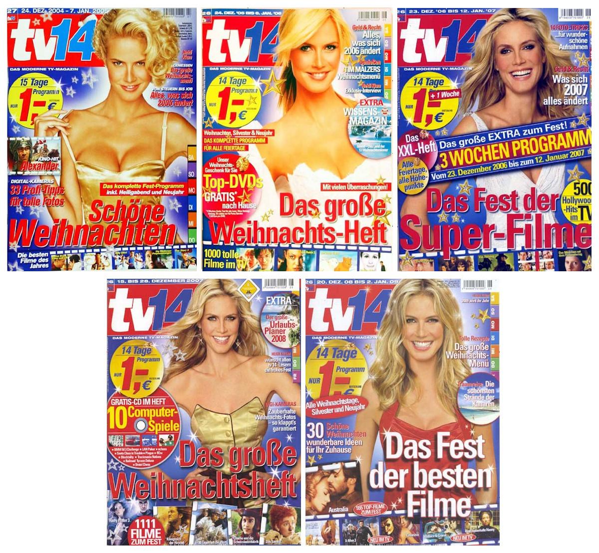 Fünf sehr ähnliche Titelbilder. Auf allen ist Heidi Klum abgebildet.