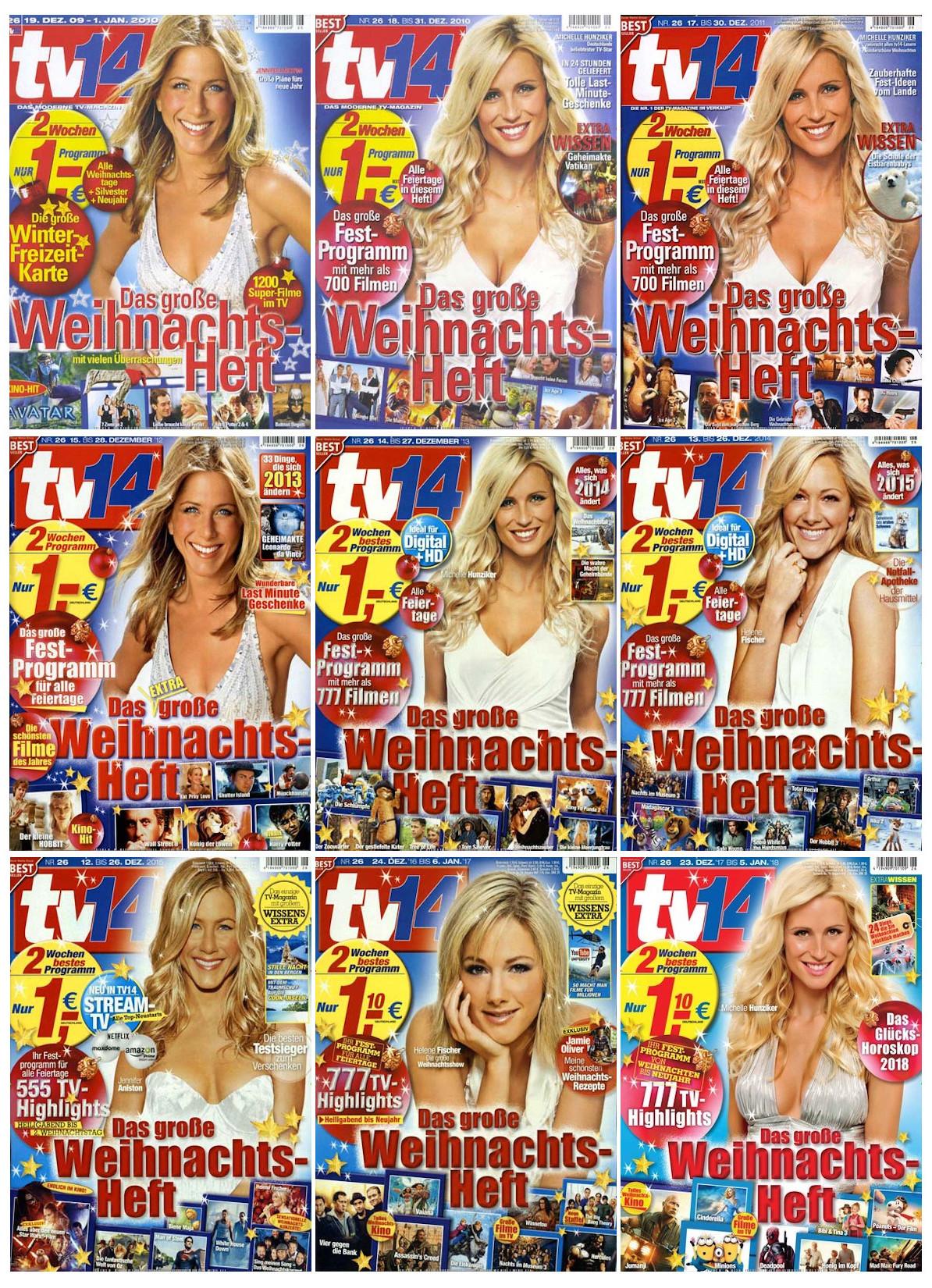 Neun Titelseiten mit jeweils blonden Frauen im weißen Kleid: anfangs abwechselnd Michelle Hunziker und Jennifer Aniston, später auch Helene Fischer.