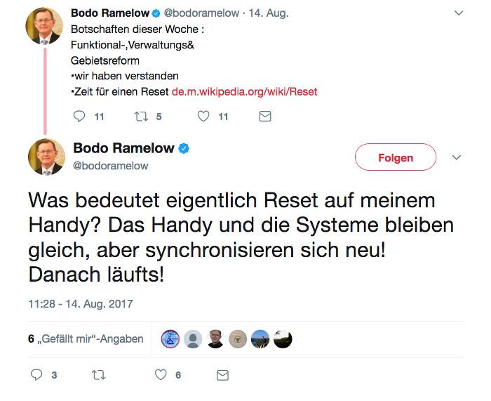 """Tweet von Ministerpräsident Bodo Ramelow (Linke): """"Was bedeutet eigentlich Reset auf meinem Handy? Das Handy und die Systeme bleiben gleich, aber synchronisieren sich neu! Danach läufts!"""""""