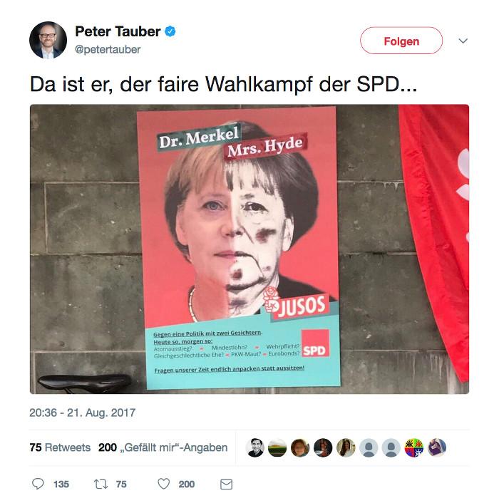 """Tweet von Generalsekretär Peter Tauber (CDU) über einem Bild, auf dem Angela Merkel als """"Dr. Merkel& Mrs. Hyde"""" dargestellt wird: """"Da ist er, der faire Wahlkampf der SPD..."""""""