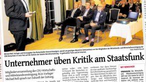 Unternehmer üben Kritik am Staatsfunk