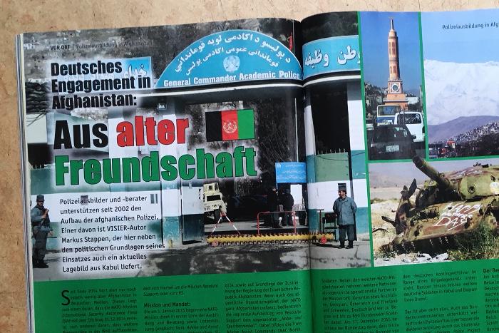 """Überschrift: """"Deutsches Engagement in Afghanistan: Aus alter Freundschaft"""", daneben ist unter anderem eine Polizeistation in Afghanistan zu sehen und ein Panzer."""