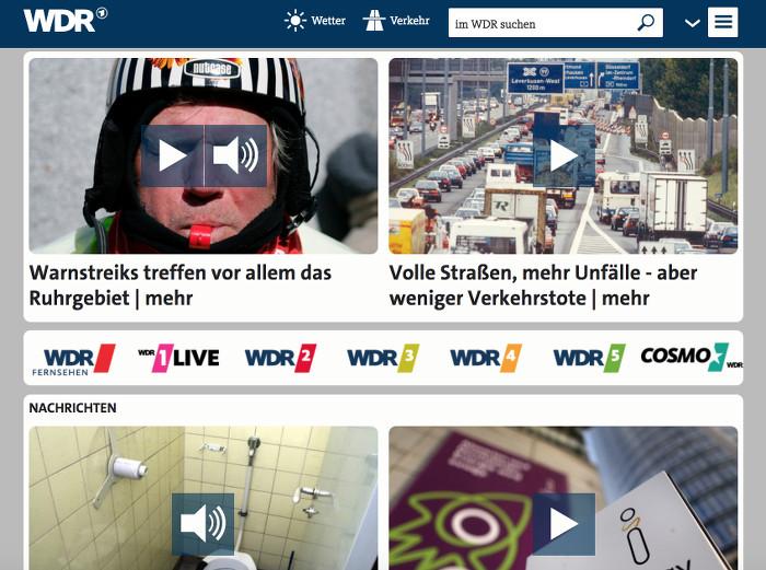 Große Vorschaubilder auf der WDR-Seite mit Play-Buttons mittendrin.