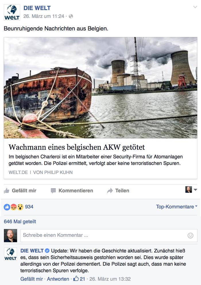 Screenshot: facebook.com/diewelt
