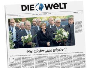 """Titelseite der Welt: """"Nie wieder 'nie wieder'!"""""""
