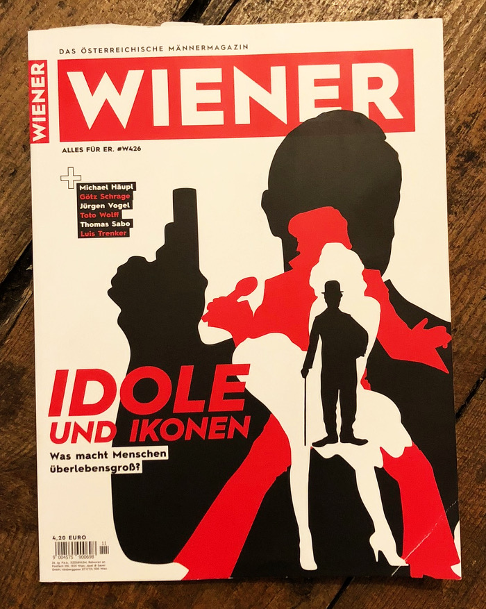 """Cover mit Schattenrissen u.a. von James Bond mit Waffe, Schlagzeile: """"Idole und Ikonen"""""""