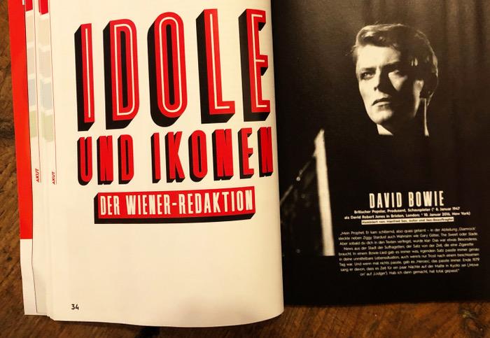 """Rechte Seite ein Foto von David Bowie, links Überschrift: """"Idole und Ikonen der Wiener-Redaktion"""""""